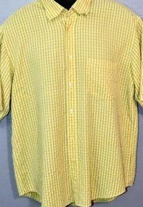 NWOT Mens Bugatchi Uomo Shirt Yellow Short Slve LG